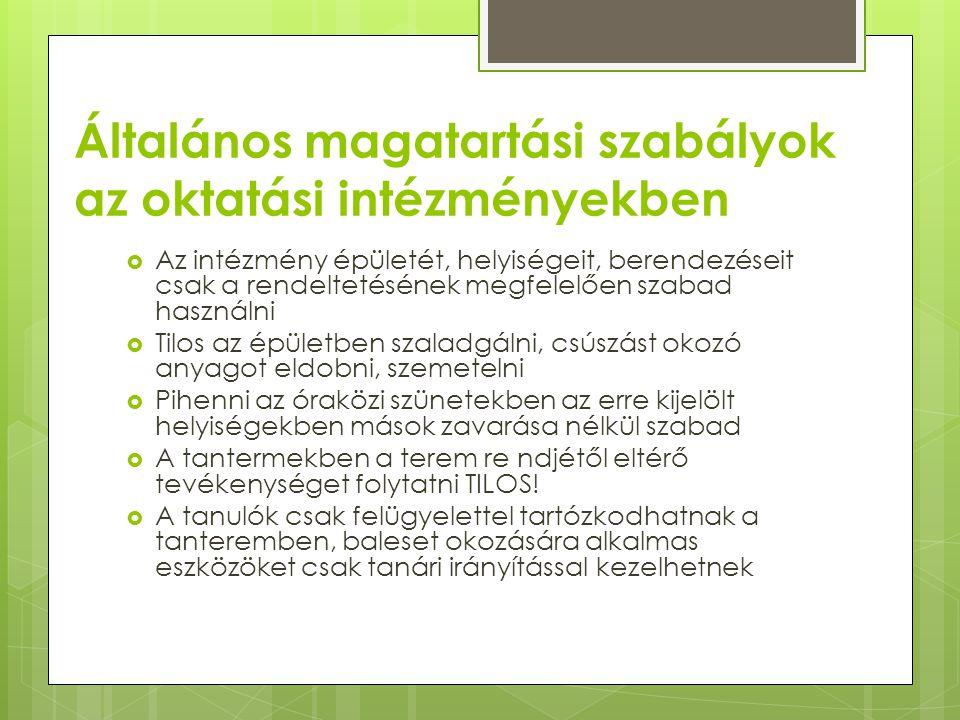 Általános magatartási szabályok az oktatási intézményekben  Az intézmény épületét, helyiségeit, berendezéseit csak a rendeltetésének megfelelően szab