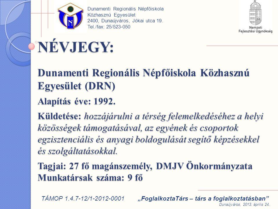 NÉVJEGY: Dunamenti Regionális Népfőiskola Közhasznú Egyesület (DRN) Alapítás éve: 1992.