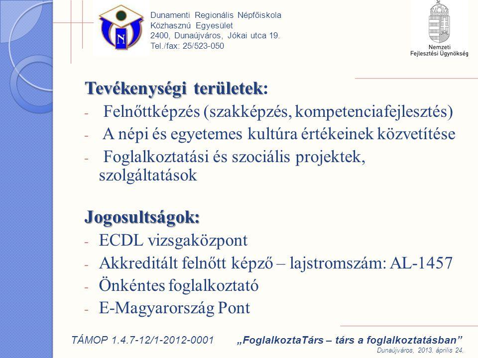 """Szakmai tapasztalatok: 2002-2005 OFA 3 éves kísérleti programja A KID projekt: """"egyéni problémákra egyedi válaszok HEFOP projektek: 2.3.2-05/2 - KID továbbvitele 3 db 2.3.1./ Trambulin (Tranzit) Dunamenti Regionális Népfőiskola Közhasznú Egyesület 2400, Dunaújváros, Jókai utca 19."""
