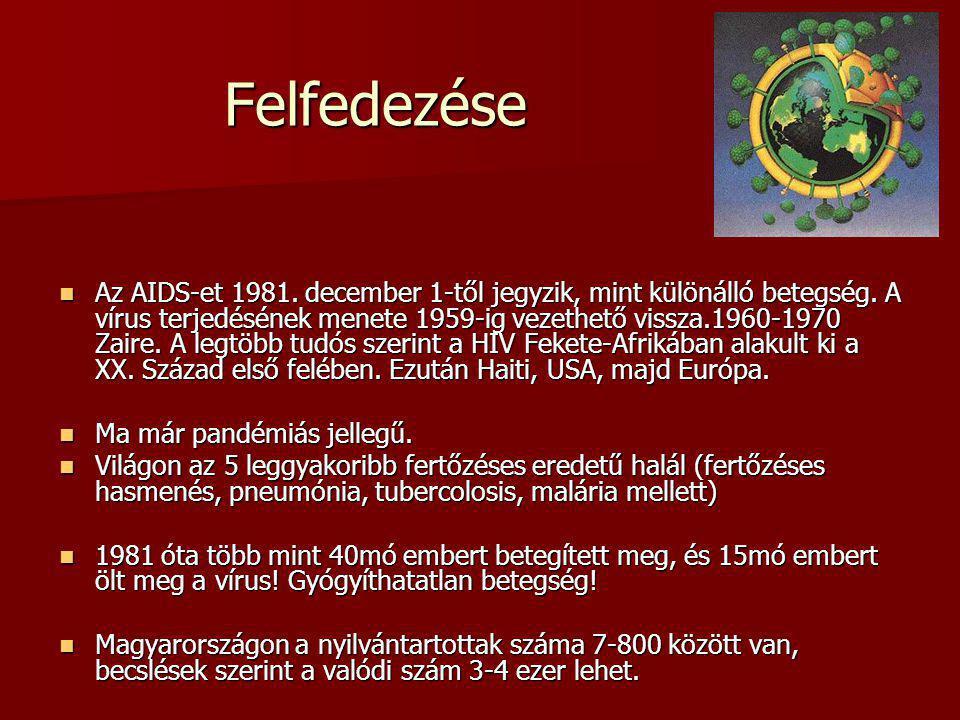 Felfedezése Az AIDS-et 1981. december 1-től jegyzik, mint különálló betegség. A vírus terjedésének menete 1959-ig vezethető vissza.1960-1970 Zaire. A