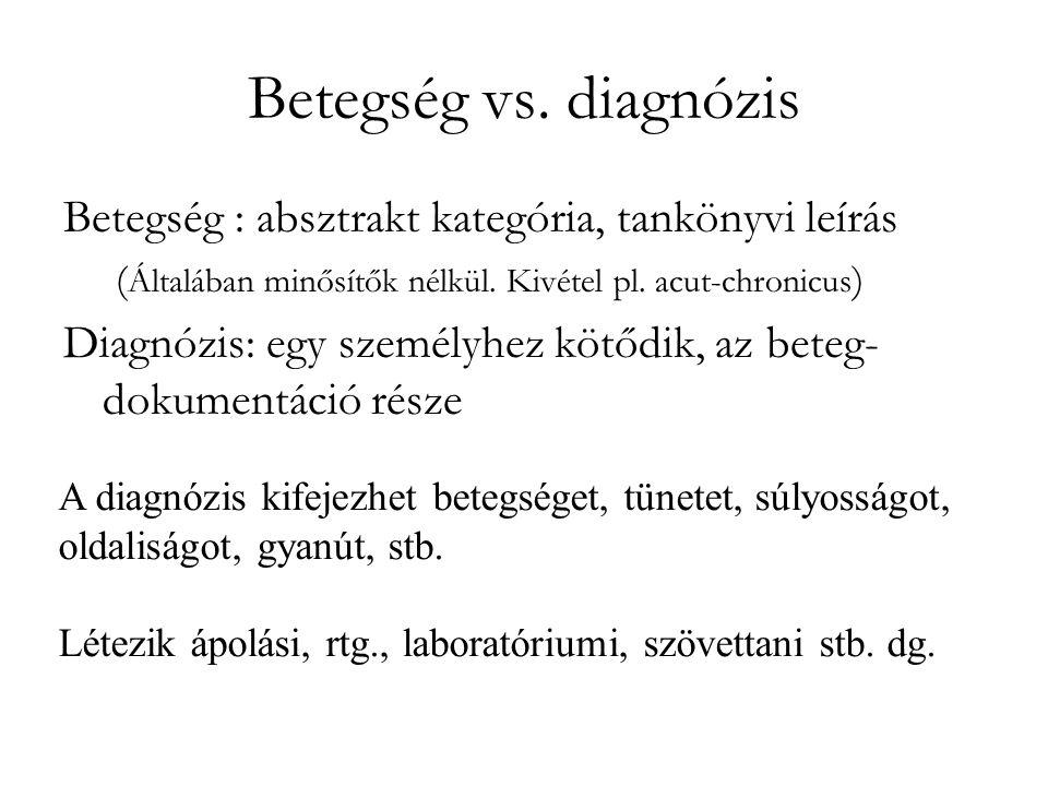 Betegség vs. diagnózis Betegség : absztrakt kategória, tankönyvi leírás ( Általában minősítők nélkül. Kivétel pl. acut-chronicus ) Diagnózis: egy szem