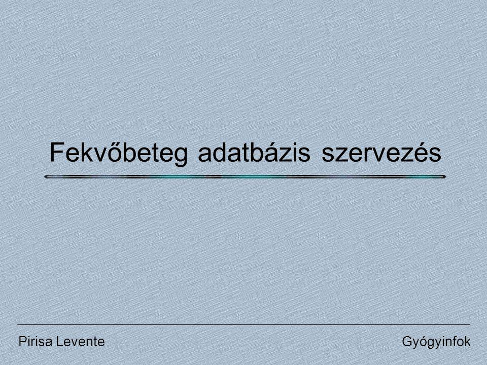 Fekvőbeteg adatbázis szervezés GyógyinfokPirisa Levente