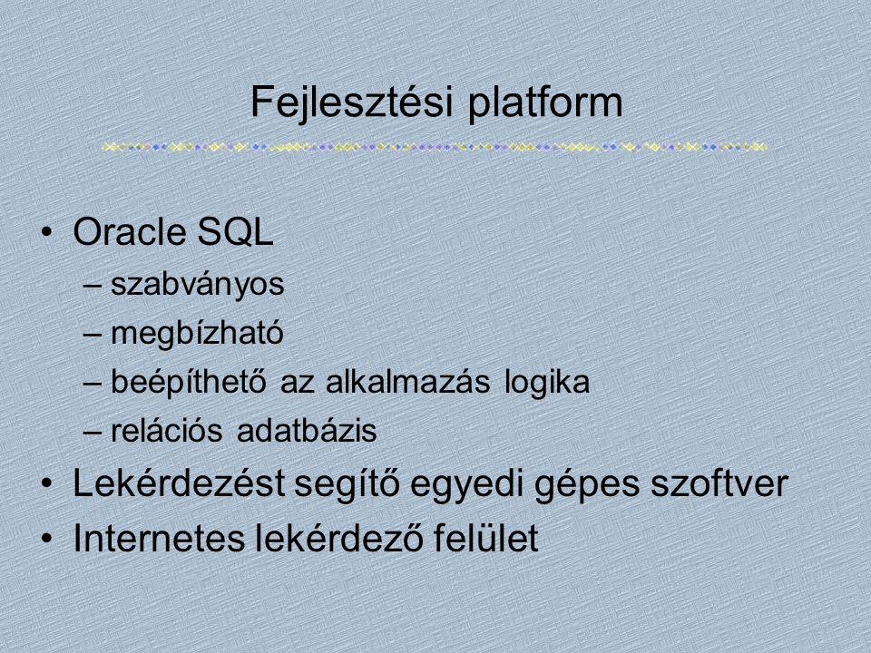 Fejlesztési platform Oracle SQL –szabványos –megbízható –beépíthető az alkalmazás logika –relációs adatbázis Lekérdezést segítő egyedi gépes szoftver Internetes lekérdező felület