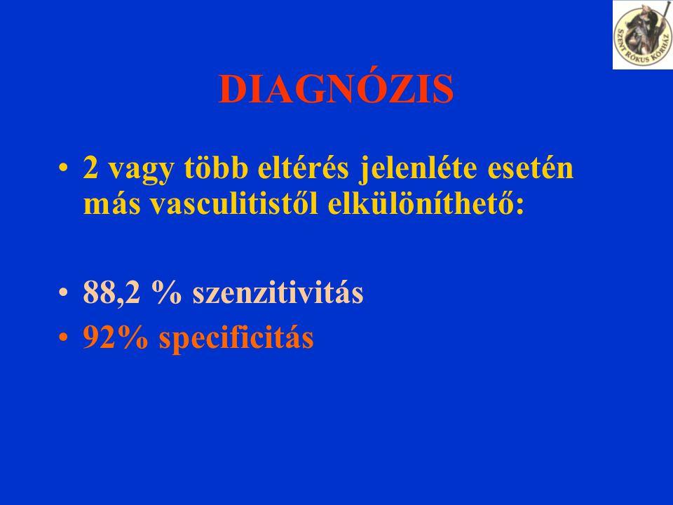 DIAGNÓZIS 2 vagy több eltérés jelenléte esetén más vasculitistől elkülöníthető: 88,2 % szenzitivitás 92% specificitás
