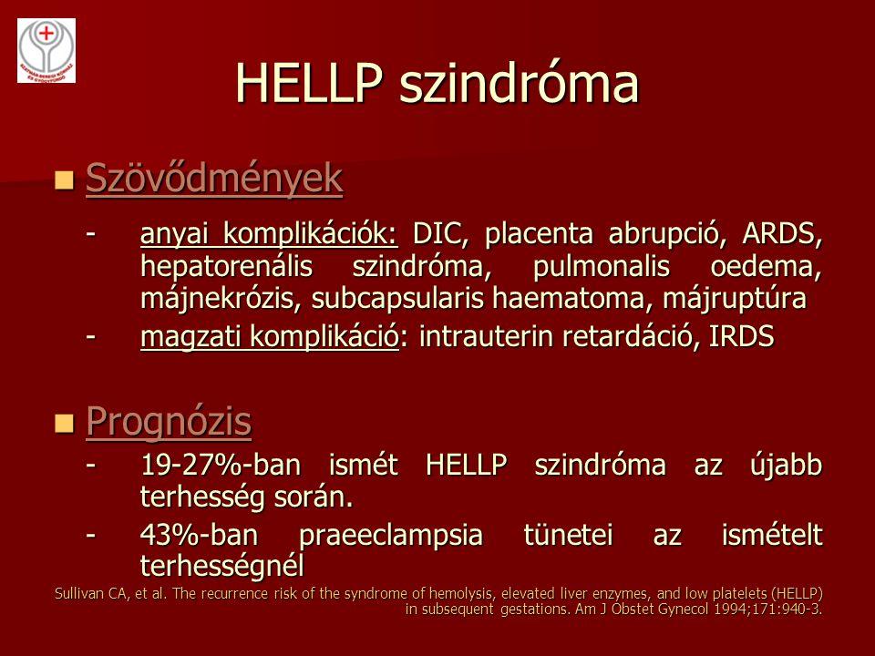 HELLP szindróma Szövődmények Szövődmények -anyai komplikációk: DIC, placenta abrupció, ARDS, hepatorenális szindróma, pulmonalis oedema, májnekrózis,