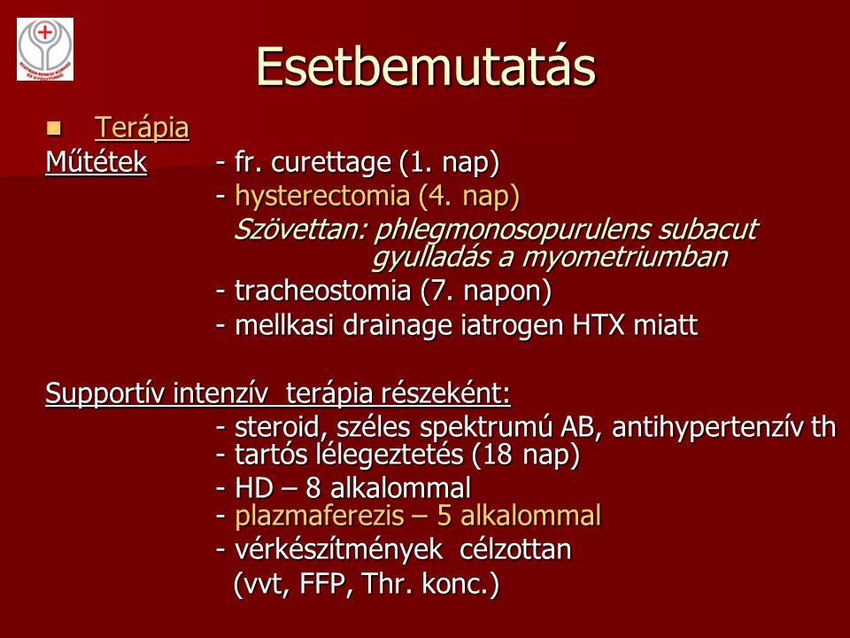 Esetbemutatás Terápia Terápia Műtétek- fr. curettage (1. nap) - hysterectomia (4. nap) - hysterectomia (4. nap) Szövettan: phlegmonosopurulens subacut