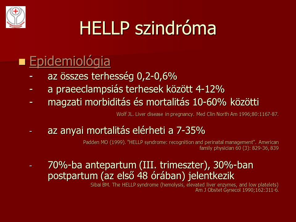 HELLP szindróma Epidemiológia Epidemiológia -az összes terhesség 0,2-0,6% -a praeeclampsiás terhesek között 4-12% -magzati morbiditás és mortalitás 10