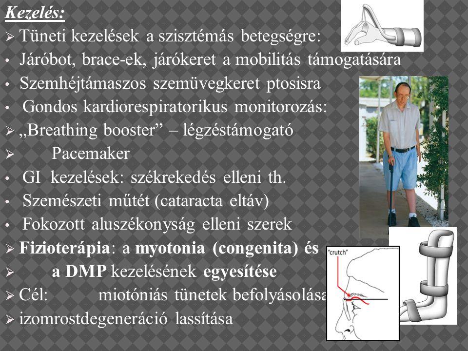Kezelés:  Tüneti kezelések a szisztémás betegségre: Járóbot, brace-ek, járókeret a mobilitás támogatására Szemhéjtámaszos szemüvegkeret ptosisra Gond