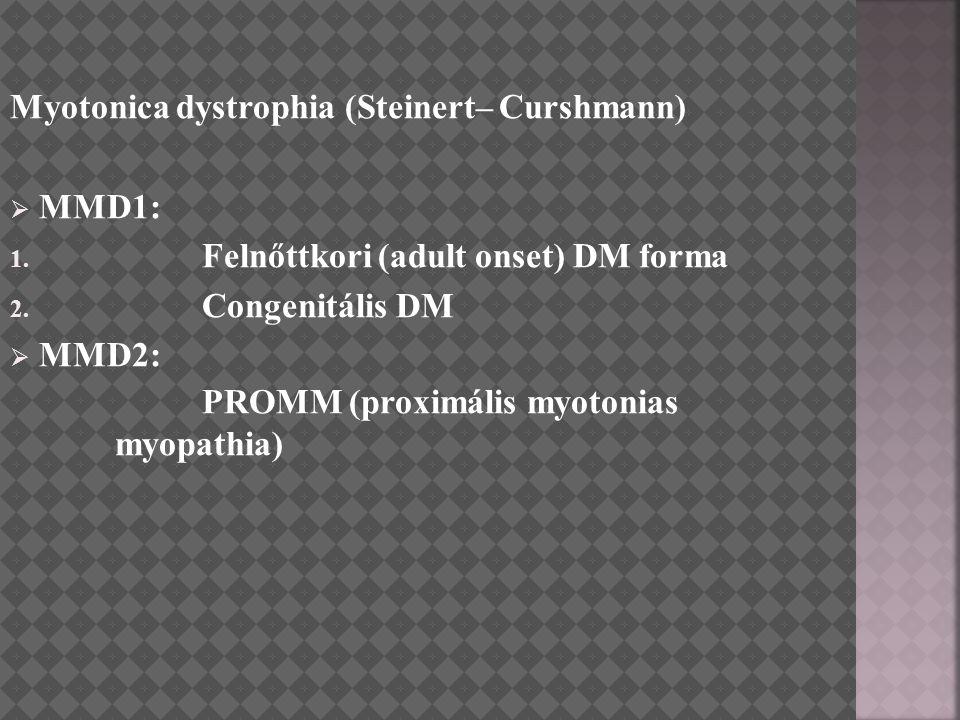 Myotonica dystrophia (Steinert– Curshmann)  MMD1: 1. Felnőttkori (adult onset) DM forma 2. Congenitális DM  MMD2: PROMM (proximális myotonias myopat