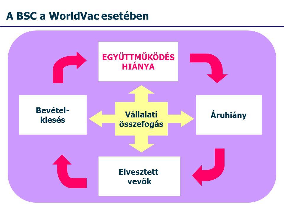 A BSC a WorldVac esetében Vállalati összefogás Áruhiány EGYÜTTMŰKÖDÉS HIÁNYA Elvesztett vevők Bevétel- kiesés