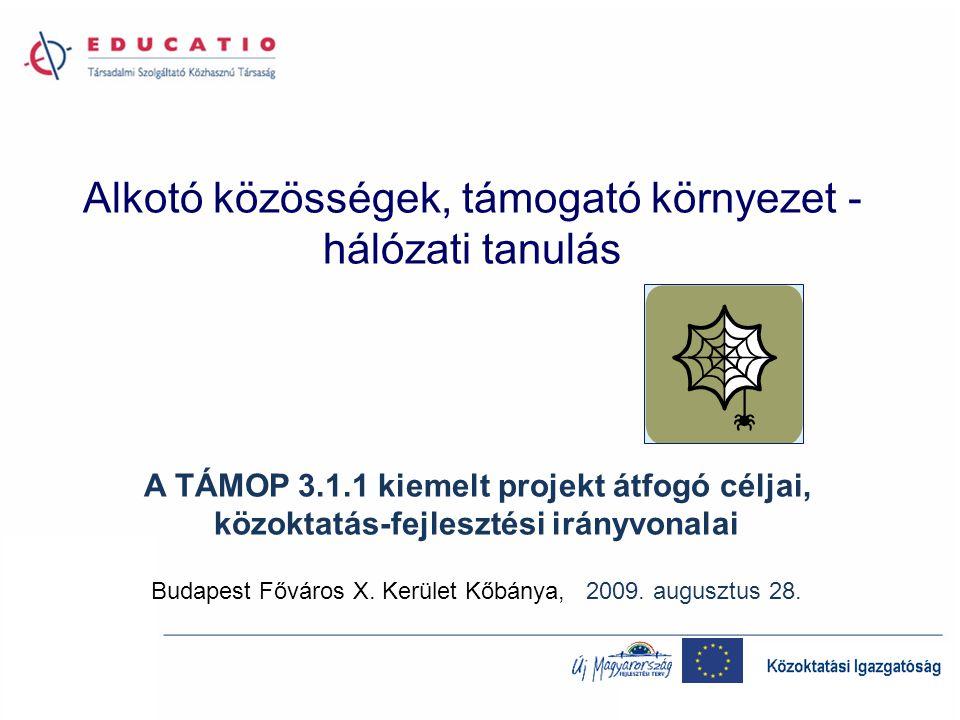 A várt hálózati tevékenységek a TÁMOP 3.1.4-hez: folyamatba ágyazott képzés szaktanácsadás, mentorálás jó gyakorlatok közzététele, adaptációja referencia intézmények szoláltatásai saját innováció az intézményekben új gyakorlóhelyek fenntartói együttműködések – intézményi integráció A hálózati tanulás kultúrájának drámai megerősítése szükséges ahhoz, hogy teljesíthetők legyenek a TÁMOP 3.1.1 és 3.1.4 pályázatok stratégiai céljai: A kulcskompetenciák fejlesztése egyenlő hozzáférés mellett.