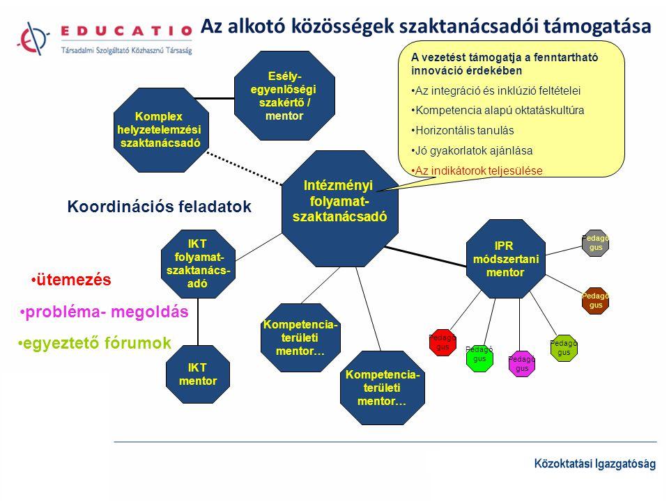 Az alkotó közösségek szaktanácsadói támogatása Intézményi folyamat- szaktanácsadó Esély- egyenlőségi szakértő / mentor Komplex helyzetelemzési szaktanácsadó IPR módszertani mentor Kompetencia- területi mentor… Kompetencia- területi mentor… IKT folyamat- szaktanács- adó IKT mentor A vezetést támogatja a fenntartható innováció érdekében Az integráció és inklúzió feltételei Kompetencia alapú oktatáskultúra Horizontális tanulás Jó gyakorlatok ajánlása Az indikátorok teljesülése Pedagó gus Pedagó gus Pedagó gus Pedagó gus Pedagó gus Koordinációs feladatok ütemezés probléma- megoldás egyeztető fórumok Pedagó gus