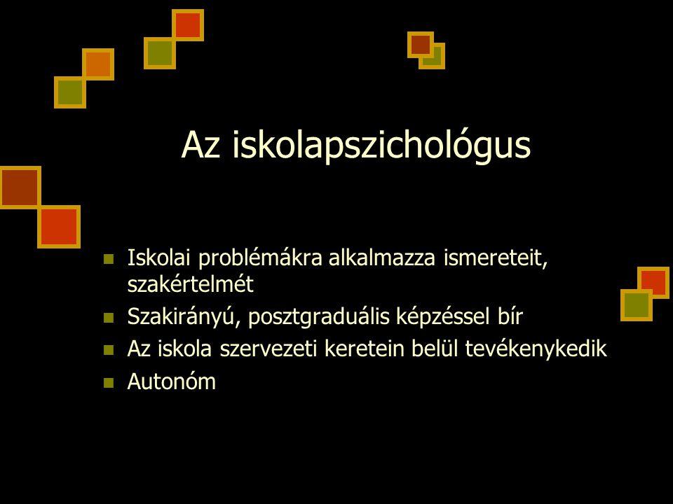 Az iskolapszichológus Iskolai problémákra alkalmazza ismereteit, szakértelmét Szakirányú, posztgraduális képzéssel bír Az iskola szervezeti keretein b