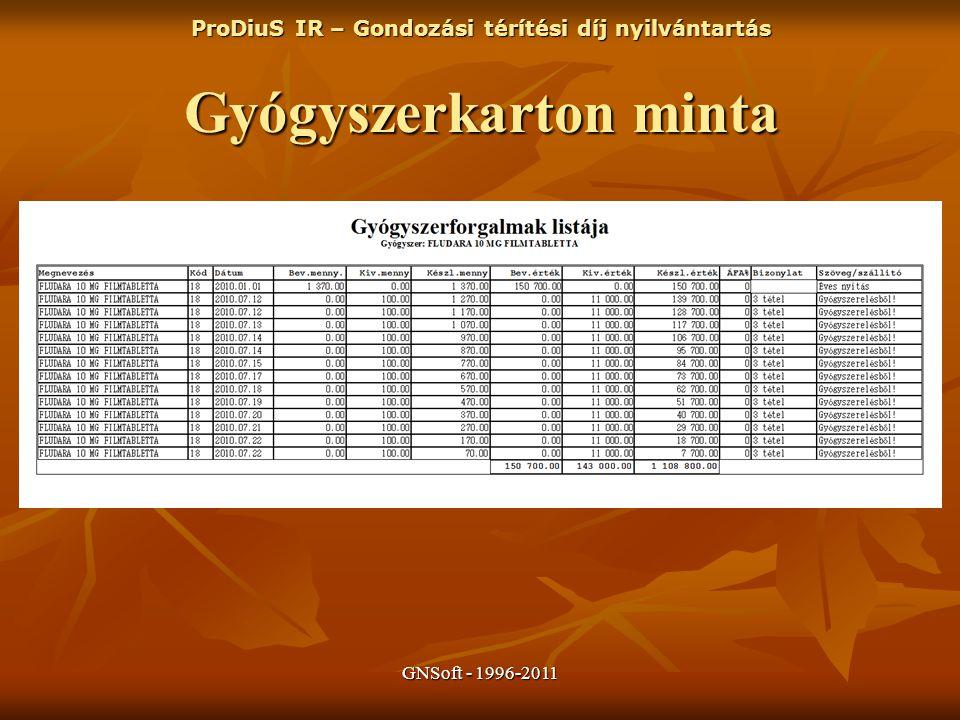 GNSoft - 1996-2011 ProDiuS IR – Gondozási térítési díj nyilvántartás Gyógyszerkarton minta