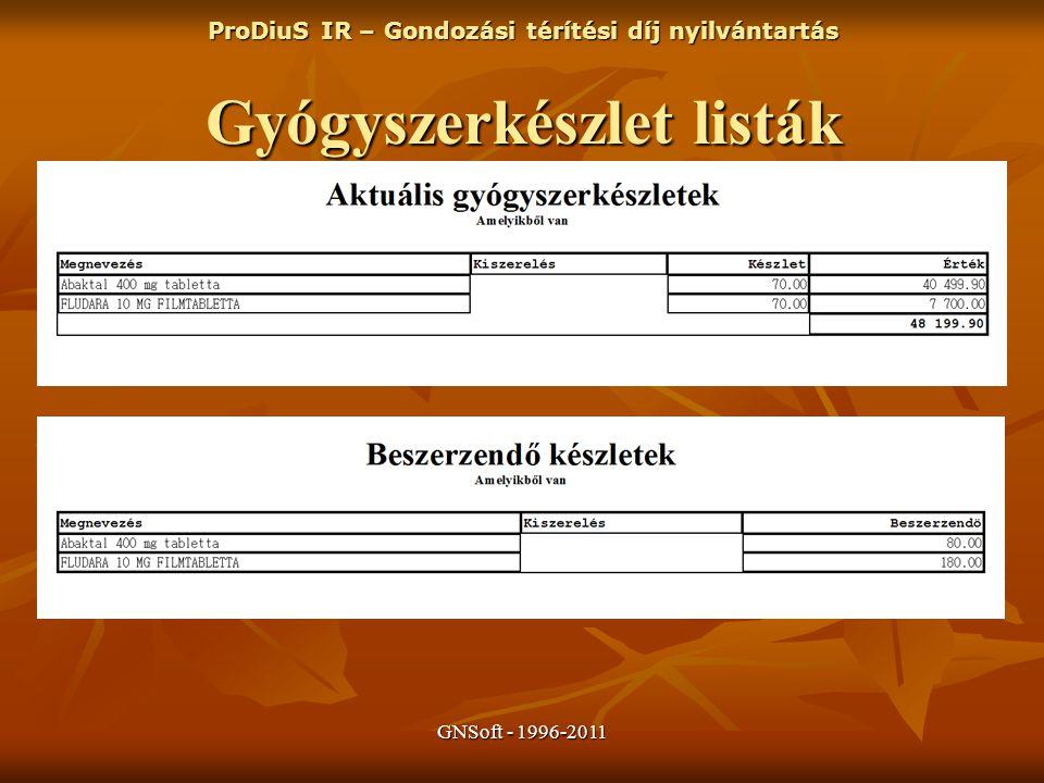 GNSoft - 1996-2011 ProDiuS IR – Gondozási térítési díj nyilvántartás Gyógyszerkészlet listák