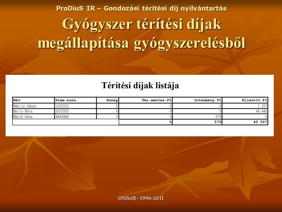 GNSoft - 1996-2011 ProDiuS IR – Gondozási térítési díj nyilvántartás Gyógyszer térítési díjak megállapítása gyógyszerelésből