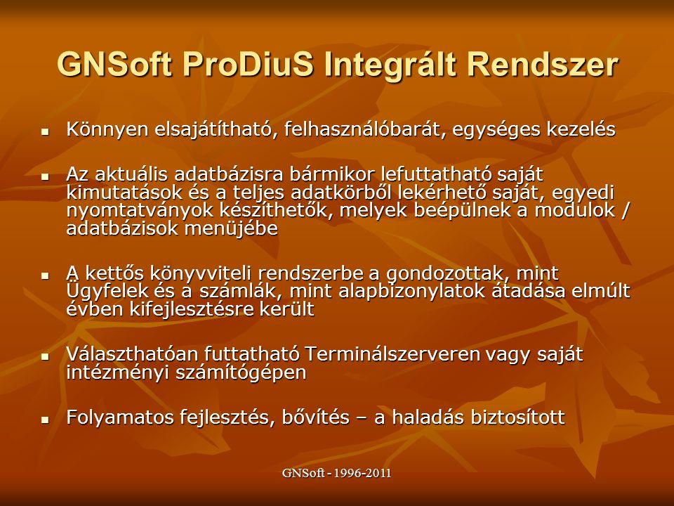 GNSoft ProDiuS Integrált Rendszer Könnyen elsajátítható, felhasználóbarát, egységes kezelés Könnyen elsajátítható, felhasználóbarát, egységes kezelés Az aktuális adatbázisra bármikor lefuttatható saját kimutatások és a teljes adatkörből lekérhető saját, egyedi nyomtatványok készíthetők, melyek beépülnek a modulok / adatbázisok menüjébe Az aktuális adatbázisra bármikor lefuttatható saját kimutatások és a teljes adatkörből lekérhető saját, egyedi nyomtatványok készíthetők, melyek beépülnek a modulok / adatbázisok menüjébe A kettős könyvviteli rendszerbe a gondozottak, mint Ügyfelek és a számlák, mint alapbizonylatok átadása elmúlt évben kifejlesztésre került A kettős könyvviteli rendszerbe a gondozottak, mint Ügyfelek és a számlák, mint alapbizonylatok átadása elmúlt évben kifejlesztésre került Választhatóan futtatható Terminálszerveren vagy saját intézményi számítógépen Választhatóan futtatható Terminálszerveren vagy saját intézményi számítógépen Folyamatos fejlesztés, bővítés – a haladás biztosított Folyamatos fejlesztés, bővítés – a haladás biztosított