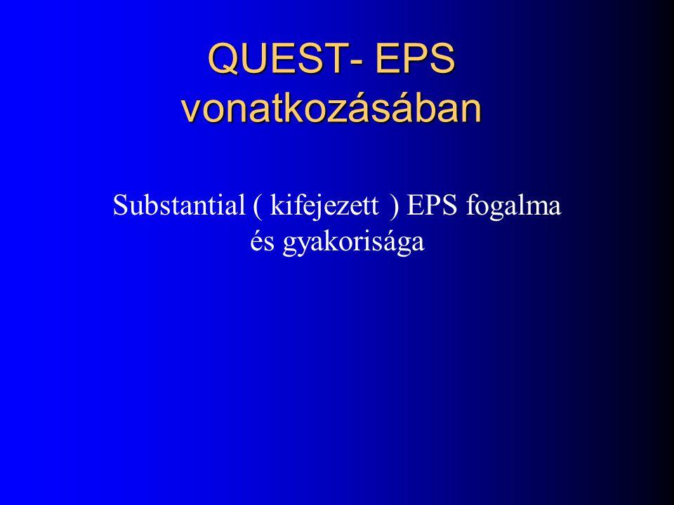 Az EPS –től szenvedő betegek aránya a különböző atípusos antipszichotikummal végzett terápia során 0 4 8 12 16 20 Risperidone (n=75) Olanzapine (n=16)
