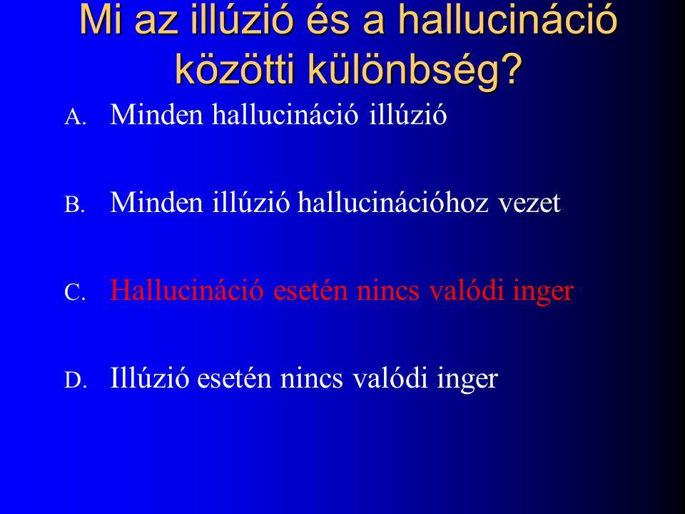 Mi az illúzió és a hallucináció közötti különbség? A. Minden hallucináció illúzió B. Minden illúzió hallucinációhoz vezet C. Hallucináció esetén nincs