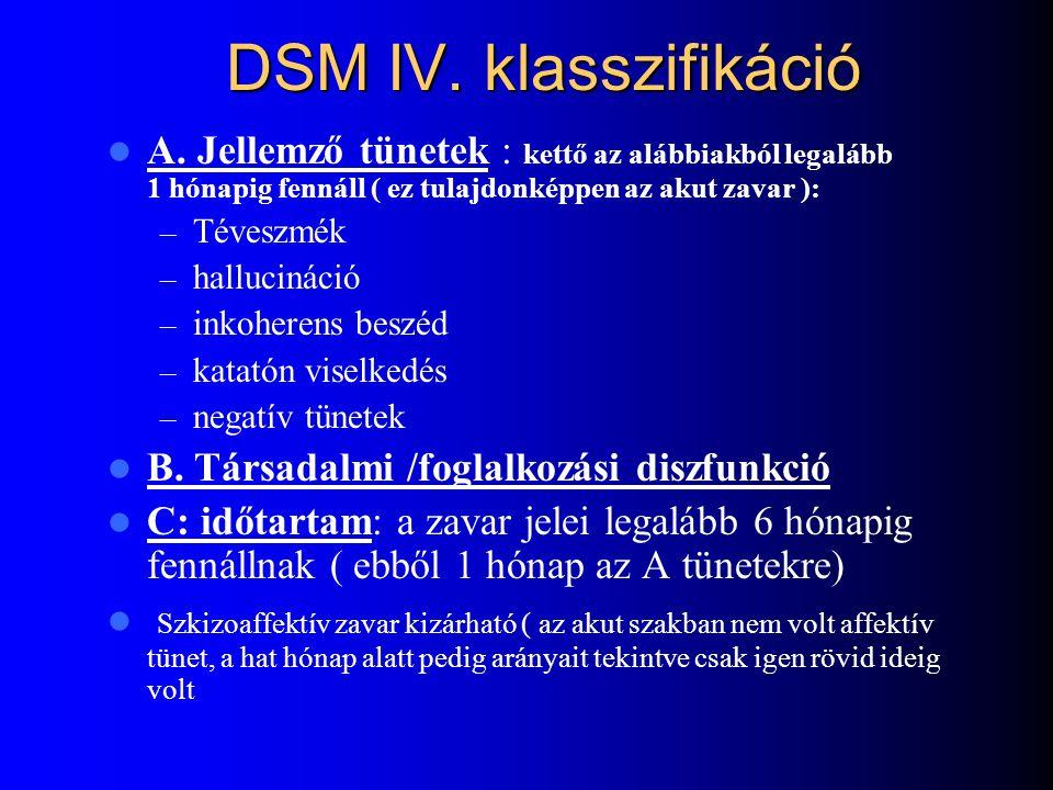 Bleuer féle klasszikus kritériumok Primer tünetek: ( Bleuer 4 A ) – Asszociációs zavar – Ambivalencia – Affektivitás zavara – Autizmus Szekunder tünet