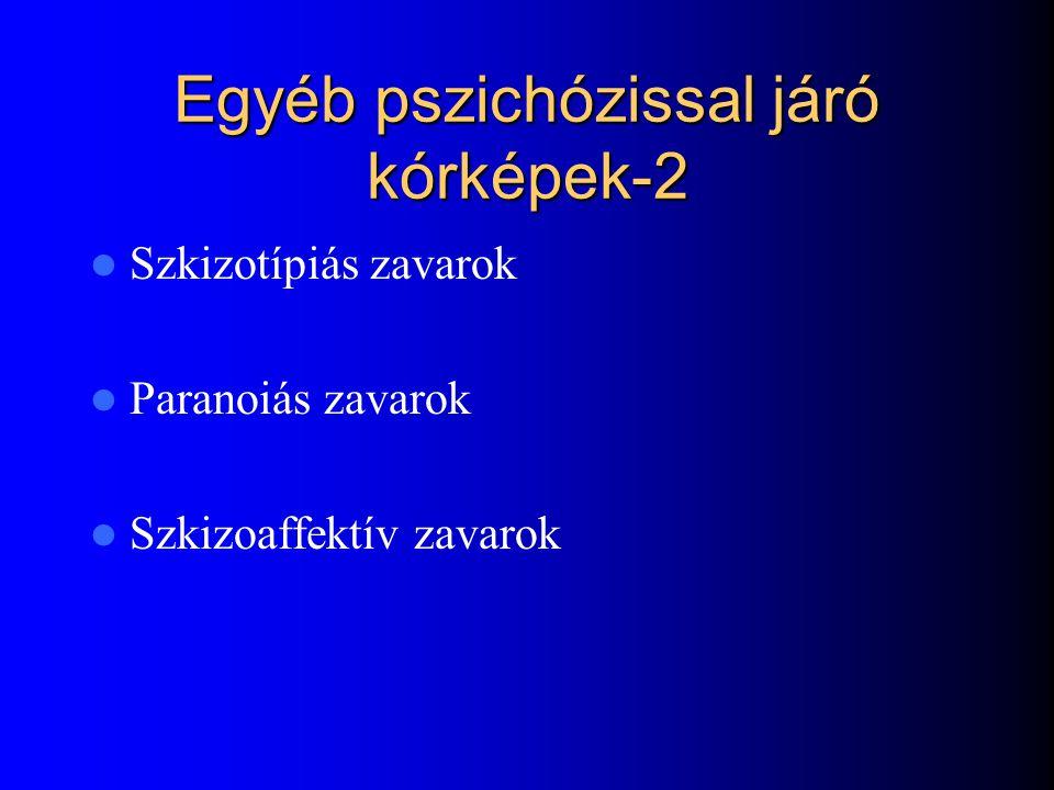 Egyéb pszichózissal járó kórformák-1 Organikus pszichoszindróma ( Alzheimer, ) Parkinson kór Szkizotípiás zavarok Paranoiás zavarok Szkizoaffektív zav