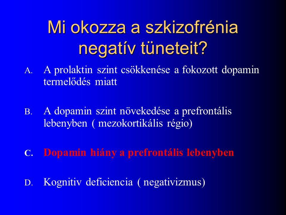 Mi okozza a szkizofrénia negatív tüneteit? A. A prolaktin szint csökkenése a fokozott dopamin termelődés miatt B. A dopamin szint növekedése a prefron