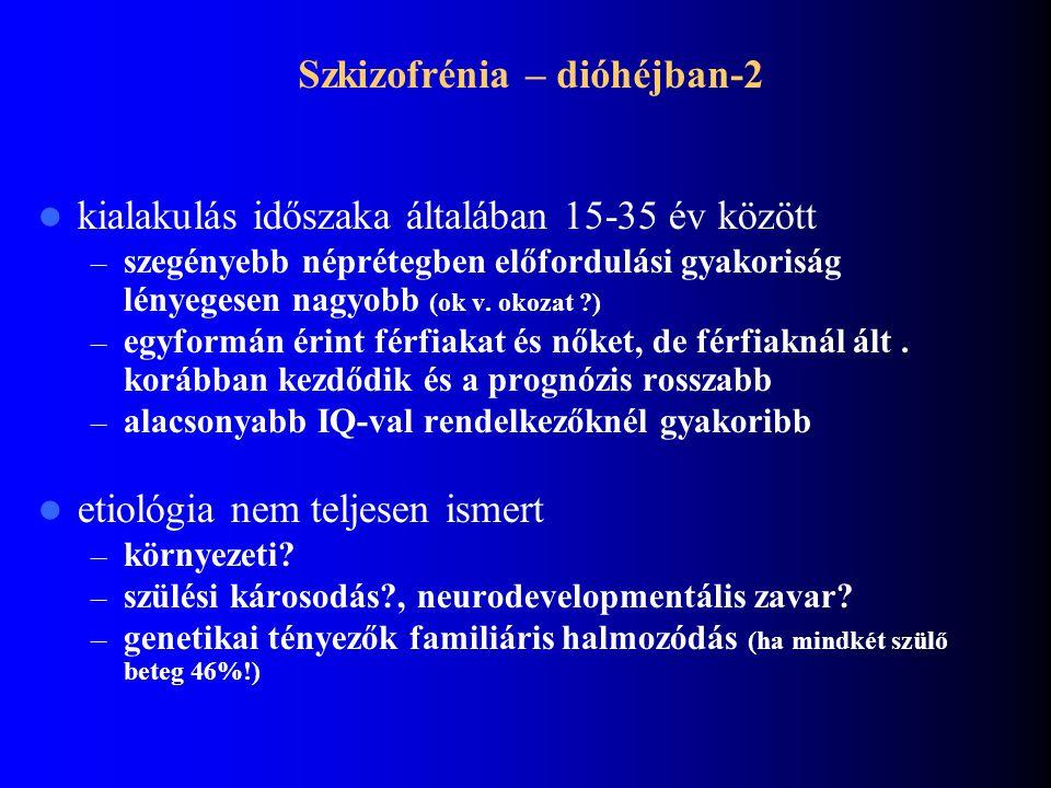 Szkizofrénia - dióhéjban Világszerte 1% – Bizarr téveszmék / hallucinációk – Érzelmi élet elsivárosodása – Kognitív tünetek (hanyatlás) Súlyosan érint