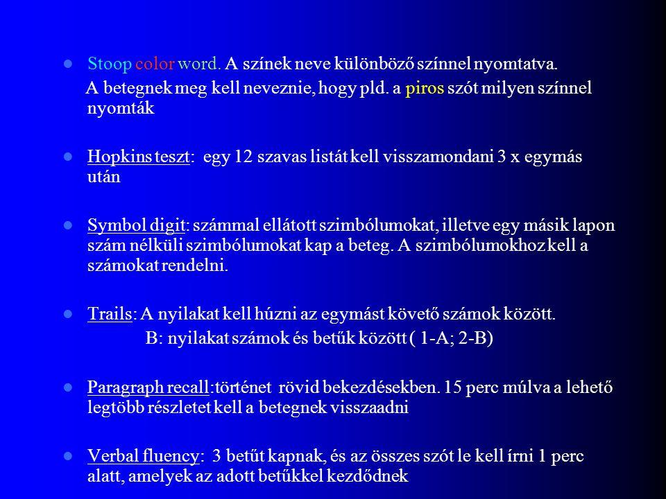 Kognitív tesztek: Stroop color word - szelektív figyelem és gátlás Hopkins Verbal Learning - rövid verbális memória Symbol-Digit Substitution - pszich