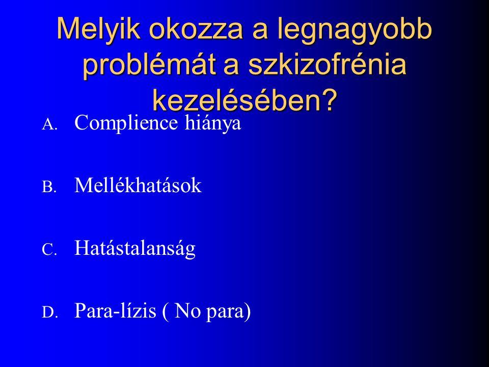 Melyik okozza a legnagyobb problémát a szkizofrénia kezelésében.