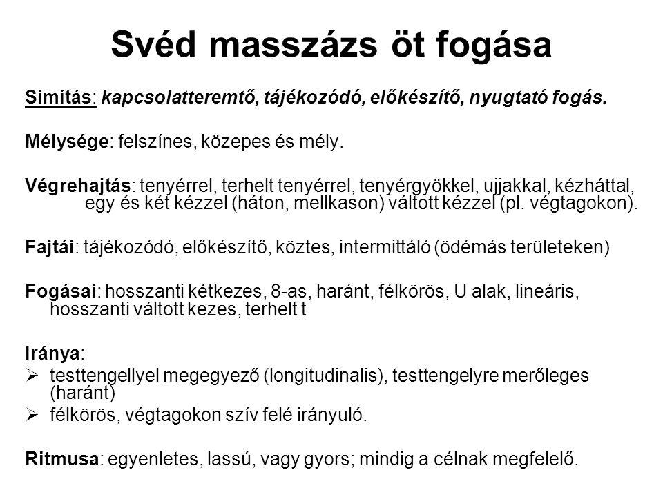 Svéd masszázs öt fogása Simítás: kapcsolatteremtő, tájékozódó, előkészítő, nyugtató fogás.