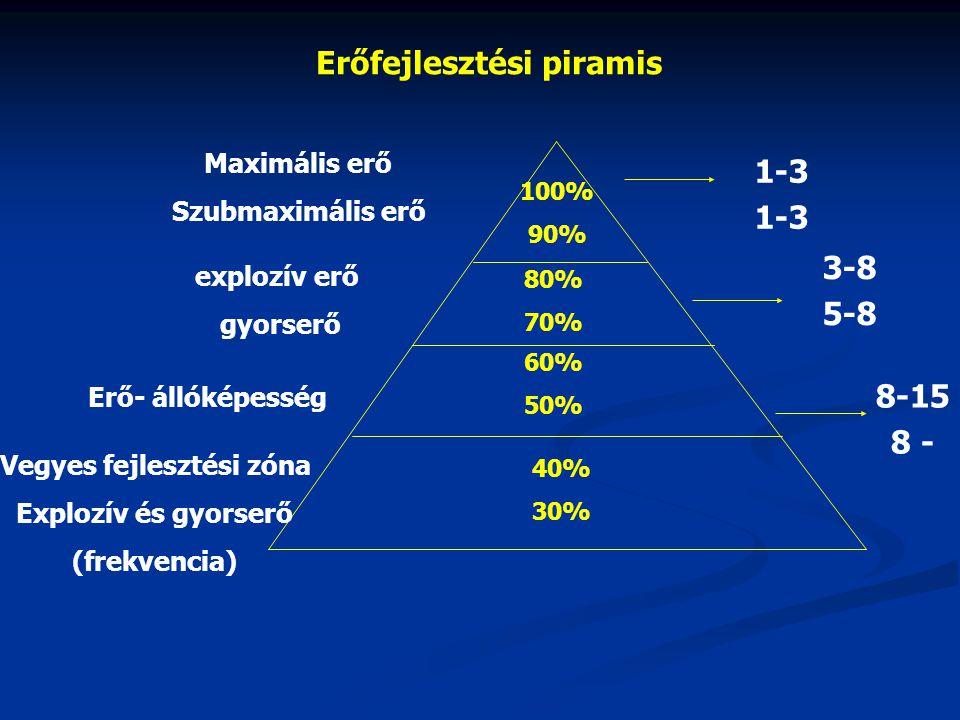 Erőfejlesztési piramis 100% 90% 80% 70% 60% 50% 40% 30% Maximális erő Szubmaximális erő explozív erő gyorserő Erő- állóképesség Vegyes fejlesztési zón