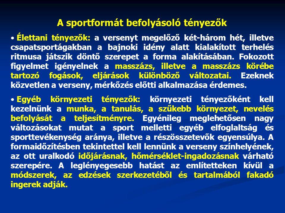 A sportformát befolyásoló tényezők Élettani tényezők: a versenyt megelőző két-három hét, illetve csapatsportágakban a bajnoki idény alatt kialakított