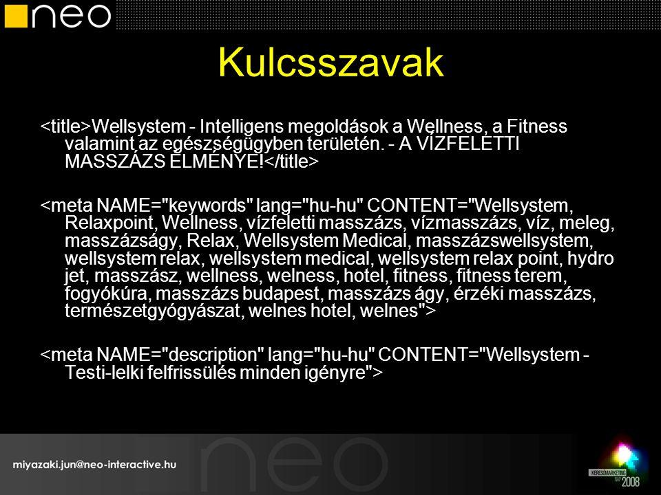 Kulcsszavak Wellsystem - Intelligens megoldások a Wellness, a Fitness valamint az egészségügyben területén.