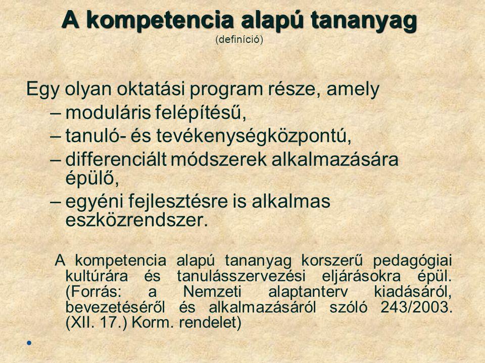 A kompetencia alapú tananyag A kompetencia alapú tananyag (definíció) Egy olyan oktatási program része, amely –moduláris felépítésű, –tanuló- és tevékenységközpontú, –differenciált módszerek alkalmazására épülő, –egyéni fejlesztésre is alkalmas eszközrendszer.