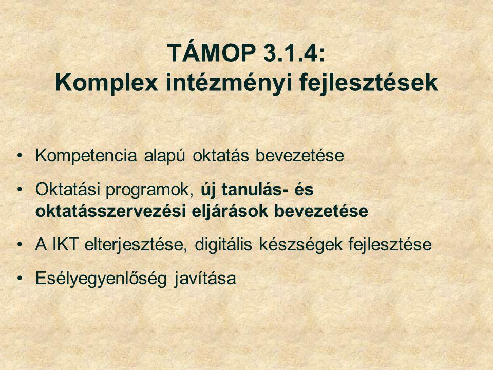 TÁMOP 3.1.4: Komplex intézményi fejlesztések Kompetencia alapú oktatás bevezetése Oktatási programok, új tanulás- és oktatásszervezési eljárások bevezetése A IKT elterjesztése, digitális készségek fejlesztése Esélyegyenlőség javítása