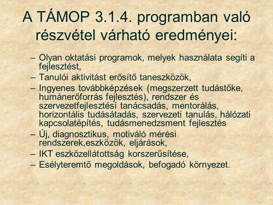 A TÁMOP 3.1.4. programban való részvétel várható eredményei: –Olyan oktatási programok, melyek használata segíti a fejlesztést, –Tanulói aktivitást er