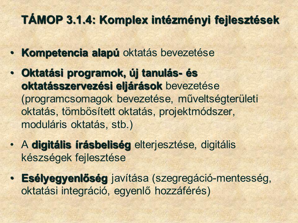 TÁMOP 3.1.4: Komplex intézményi fejlesztések Kompetencia alapúKompetencia alapú oktatás bevezetése Oktatási programok, új tanulás- és oktatásszervezési eljárásokOktatási programok, új tanulás- és oktatásszervezési eljárások bevezetése (programcsomagok bevezetése, műveltségterületi oktatás, tömbösített oktatás, projektmódszer, moduláris oktatás, stb.) digitális írásbeliségA digitális írásbeliség elterjesztése, digitális készségek fejlesztése EsélyegyenlőségEsélyegyenlőség javítása (szegregáció-mentesség, oktatási integráció, egyenlő hozzáférés)