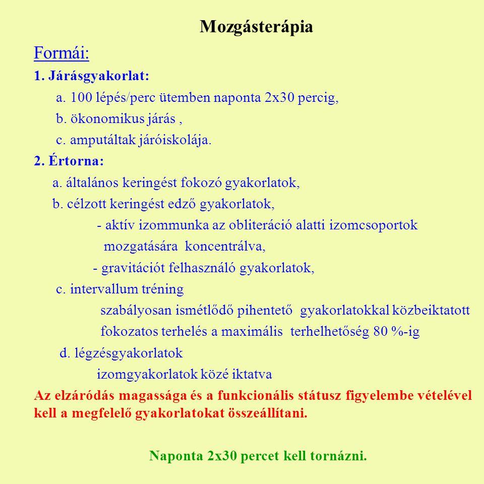 Mozgásterápia Formái: 1. Járásgyakorlat: a. 100 lépés/perc ütemben naponta 2x30 percig, b. ökonomikus járás, c. amputáltak járóiskolája. 2. Értorna: a