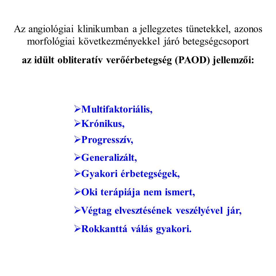 Az angiológiai klinikumban a jellegzetes tünetekkel, azonos morfológiai következményekkel járó betegségcsoport az idült obliteratív verőérbetegség (PA