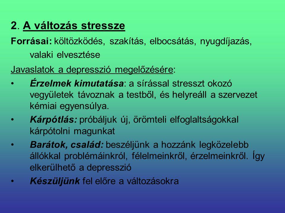 2. A változás stressze Forrásai: költözködés, szakítás, elbocsátás, nyugdíjazás, valaki elvesztése Javaslatok a depresszió megelőzésére: Érzelmek kimu