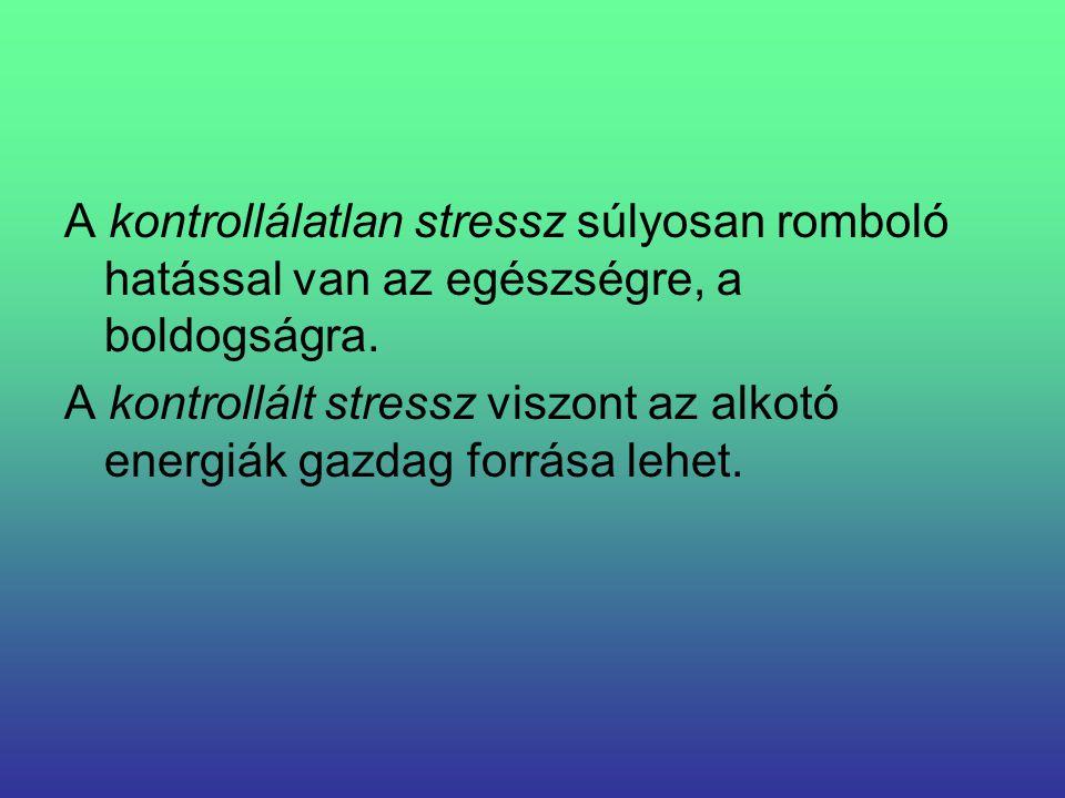 A kontrollálatlan stressz súlyosan romboló hatással van az egészségre, a boldogságra. A kontrollált stressz viszont az alkotó energiák gazdag forrása