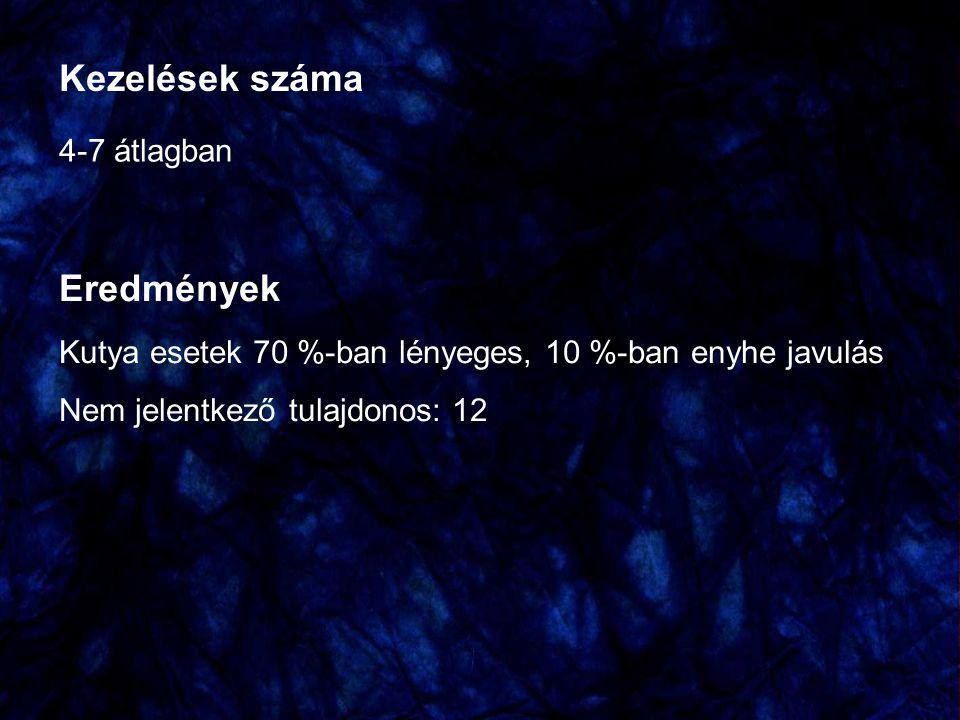 Kezelések száma 4-7 átlagban Eredmények Kutya esetek 70 %-ban lényeges, 10 %-ban enyhe javulás Nem jelentkező tulajdonos: 12