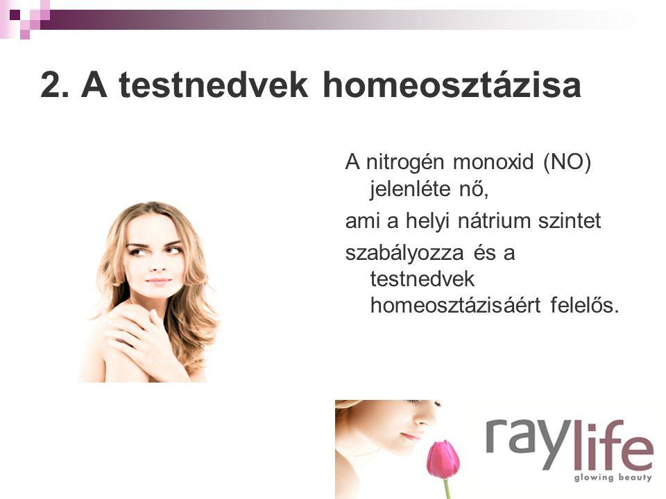 2. A testnedvek homeosztázisa A nitrogén monoxid (NO) jelenléte nő, ami a helyi nátrium szintet szabályozza és a testnedvek homeosztázisáért felelős.