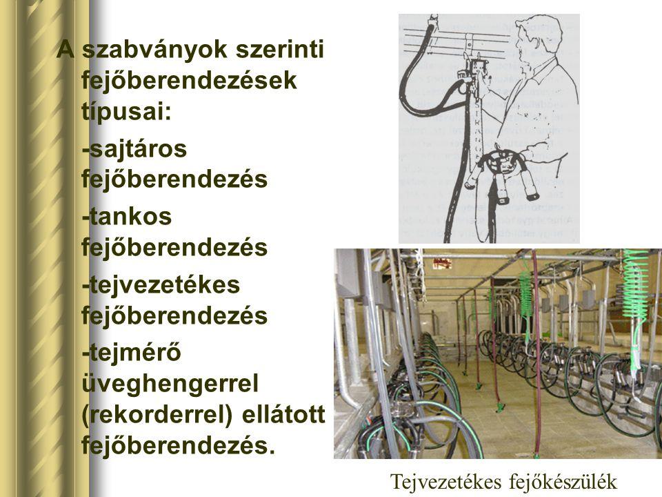 A szabványok szerinti fejőberendezések típusai: -sajtáros fejőberendezés -tankos fejőberendezés -tejvezetékes fejőberendezés -tejmérő üveghengerrel (r