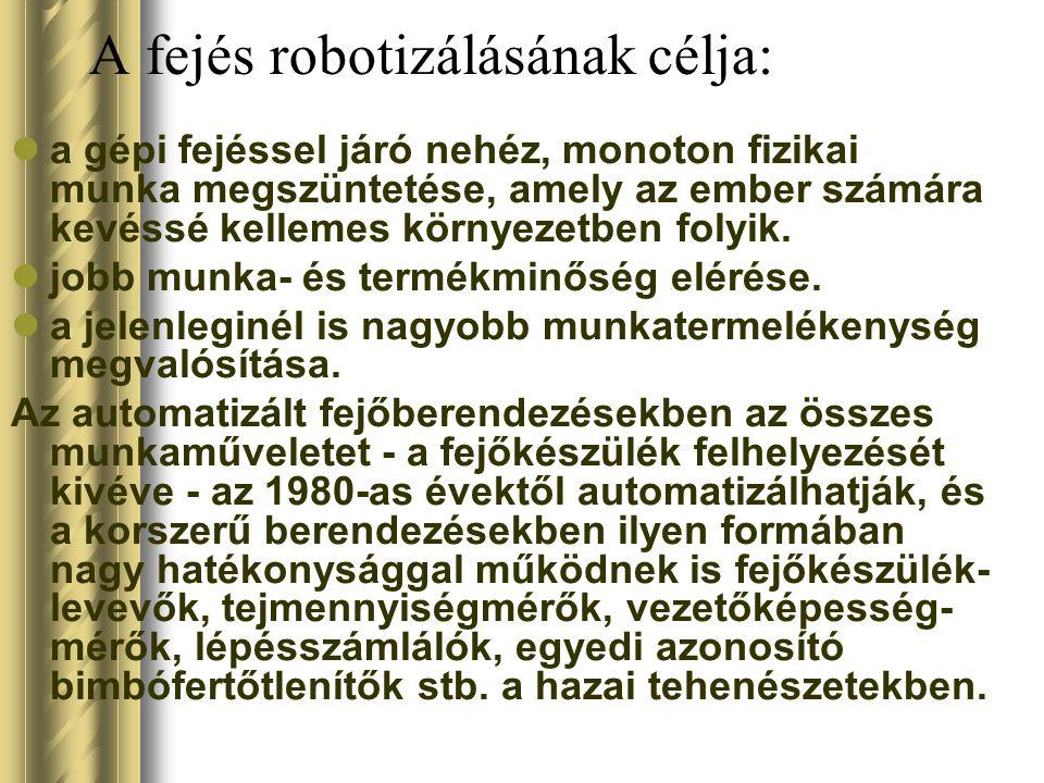 A fejés robotizálásának célja: a gépi fejéssel járó nehéz, monoton fizikai munka megszüntetése, amely az ember számára kevéssé kellemes környezetben f