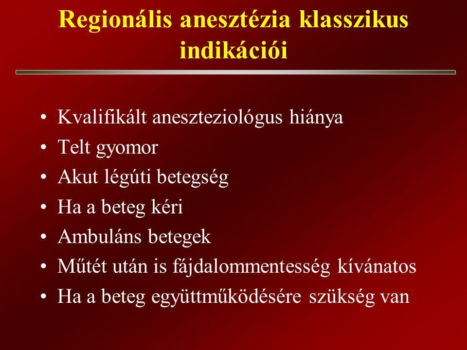 Regionális anesztézia klasszikus indikációi Kvalifikált aneszteziológus hiánya Telt gyomor Akut légúti betegség Ha a beteg kéri Ambuláns betegek Műtét után is fájdalommentesség kívánatos Ha a beteg együttműködésére szükség van