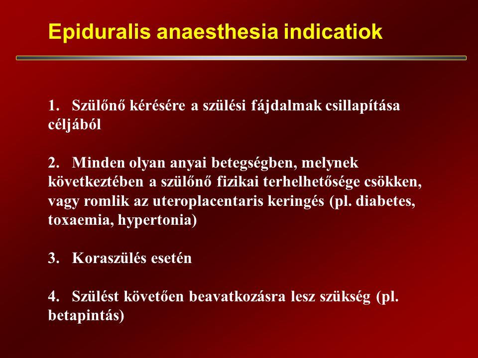 Epiduralis anaesthesia indicatiok 1.Szülőnő kérésére a szülési fájdalmak csillapítása céljából 2.