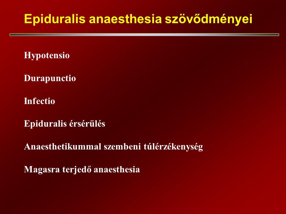Epiduralis anaesthesia szövődményei Hypotensio Durapunctio Infectio Epiduralis érsérülés Anaesthetikummal szembeni túlérzékenység Magasra terjedő anaesthesia