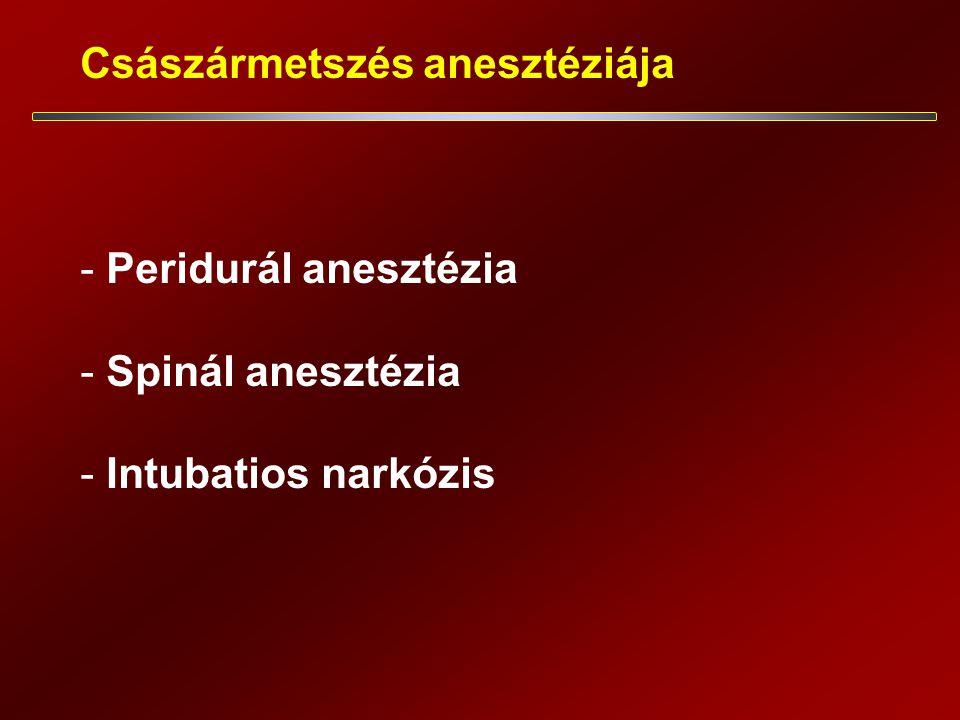 Császármetszés anesztéziája - Peridurál anesztézia - Spinál anesztézia - Intubatios narkózis