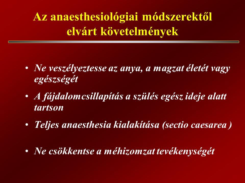 Az anaesthesiológiai módszerektől elvárt követelmények Ne veszélyeztesse az anya, a magzat életét vagy egészségét A fájdalomcsillapítás a szülés egész ideje alatt tartson Teljes anaesthesia kialakítása (sectio caesarea ) Ne csökkentse a méhizomzat tevékenységét